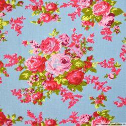 Lin viscose imprimé bouquets de fleurs fond bleu