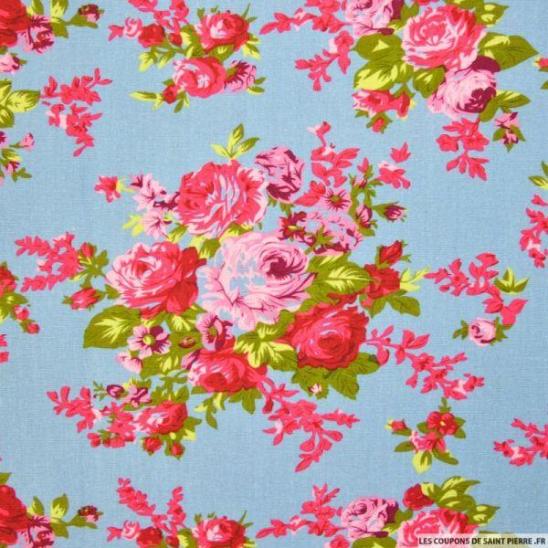 Lin viscose bouquets de fleurs fond bleu