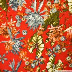 Lin viscose tropicale fond rouge