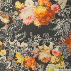 Taffetas polyester imprimé floral
