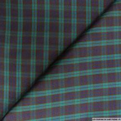 Taffetas polyester carreaux violet et rouge