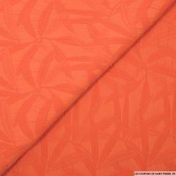 Jacquard polycoton feuilles orange