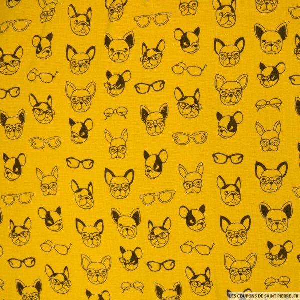 Double gaze moutarde imprimé bulldog délavé