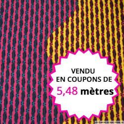 Wax africain vague tricolore, vendu en coupon de 5,48 mètres