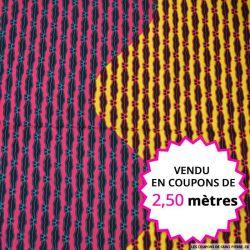 Wax africain vague tricolore, vendu en coupon de 2,50 mètres