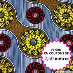 Wax africain rosace jaune et rouge, vendu en coupon de 2,50 mètres