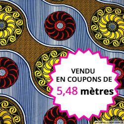 Wax africain rosace jaune et rouge, vendu en coupon de 5,48 mètres