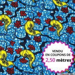Wax africain crête de coq fond aquatique, vendu en coupon de 2,50 mètres