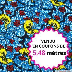 Wax africain crête de coq fond aquatique, vendu en coupon de 5,48 mètres