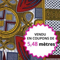 Wax africain panier bordeaux et jaune, vendu en coupon de 5,48 mètres