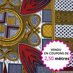 Wax africain panier bordeaux et jaune, vendu en coupon de 2,50 mètres