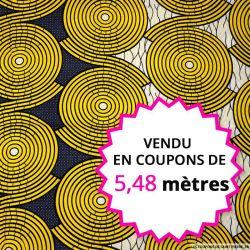 Wax africain labyrinthe jaune, vendu en coupon de 5,48 mètres