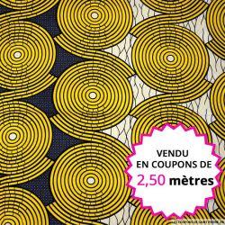 Wax africain labyrinthe jaune, vendu en coupon de 2,50 mètres