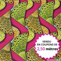 Wax africain boomerang fond fuchsia, vendu en coupon de 2,50 mètres