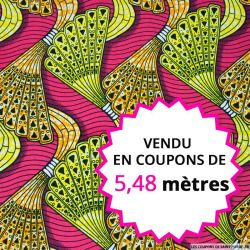 Wax africain boomerang fond fuchsia, vendu en coupon de 5,48 mètres