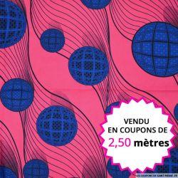 Wax africain sphère bleu, vendu en coupon de 2,50 mètres