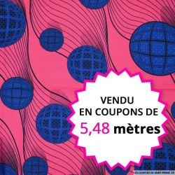 Wax africain sphère bleu, vendu en coupon de 5,48 mètres