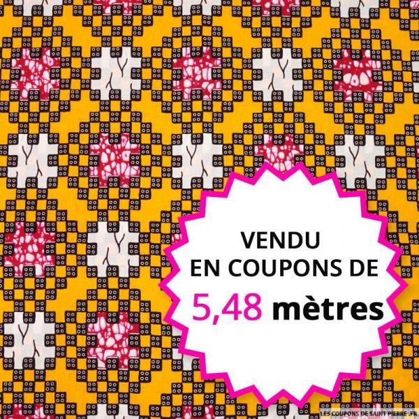 Wax africain pixel fond ocre, vendu en coupon de 5,48 mètres