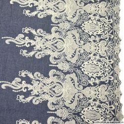 Jean's coton fin brodé écru Versailles ajouré et festonné