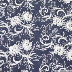 Jean's coton fin brodé écru fleurs de printemps