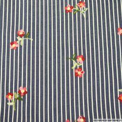 Jean's coton fin rayures et brodé fleurs
