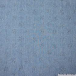 Jean's coton fin clair oiseaux argentés