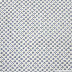 Coton imprimé boutons de fleurs bleu