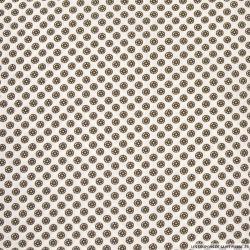 Coton imprimé boutons de fleurs marron