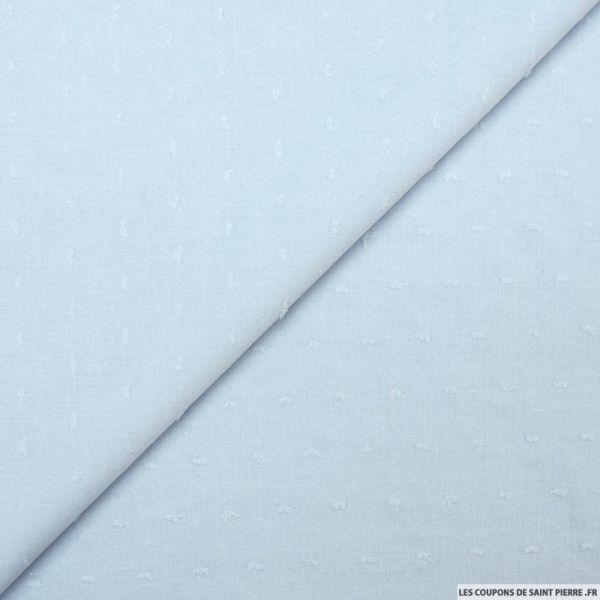 Voile de coton Plumetis bleu dragée