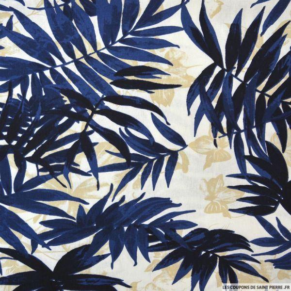 Lin viscose palmier bleu fond écru