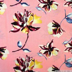 Lin viscose imprimé fleurs fond rose