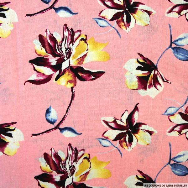 Lin viscose fleurs fond rose