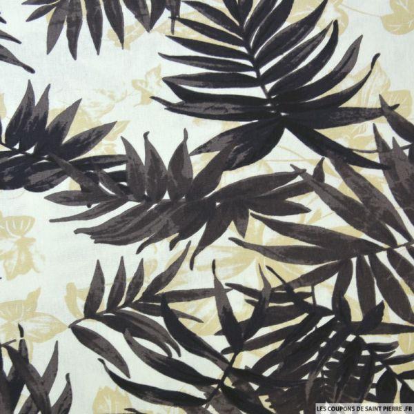 Lin viscose palmier marron fond écru