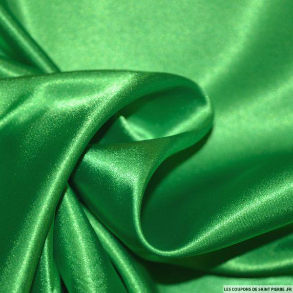 Tissu Satin Polyester uni Vert