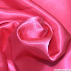 Tissu Satin Polyester uni rose Fuchsia