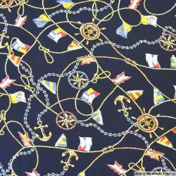 Viscose imprimée foulard voyageur fond marine