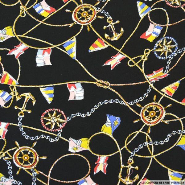 Viscose imprimé foulard voyageur fond noir