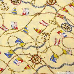 Viscose imprimée foulard voyageur fond ivoire