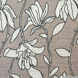 Voile de coton viscose imprimé fleurs fond gris