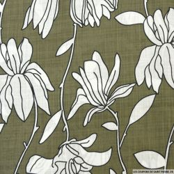 Voile de coton viscose imprimé fleurs fond kaki