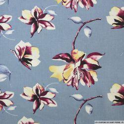Lin viscose fleurs fond bleu