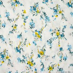 Crépon viscose imprimé champêtre jaune et bleu fond blanc