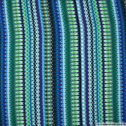 Viscose imprimé zigzag fond bleu