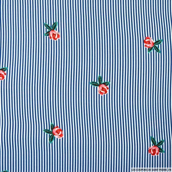 Viscose imprimée rayure bleu et fleur rose