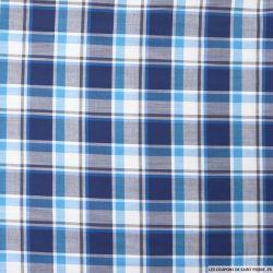 Coton chemise grands carreaux marine et bleu