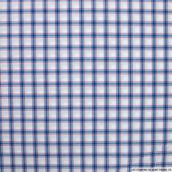 Coton chemise carreaux bleu fond blanc