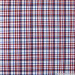 Coton chemise carreaux rouge et bleu fond blanc