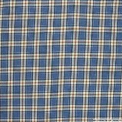 Coton chemise carreaux bleu jeans et marron