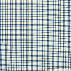 Coton chemise petits carreaux bleu et jaune