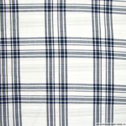 Coton chemise grands carreaux marine fond blanc